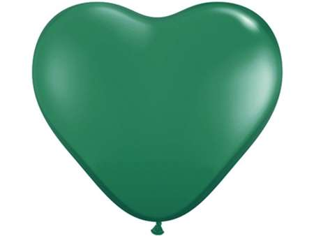"25pk 12"" Green Heart Balloons for celebrations and parties."