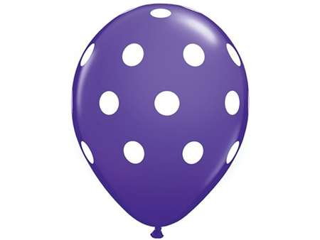 "25pk 12"" Purple with White Dots Balloons for celebrations and parties."