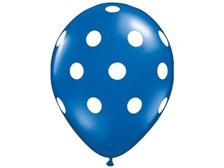 "25pk 12"" Royal Blue with White Dots Balloons for celebrations and parties."