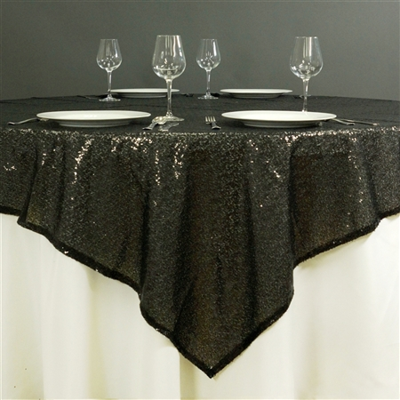 "60"" x 60"" Grand Duchess Sequin Table Overlays - Black"