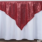 "60"" x 60"" Grand Duchess Sequin Table Overlays - Burgundy"