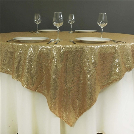 "60"" x 60"" Grand Duchess Sequin Table Overlays - Champagne"