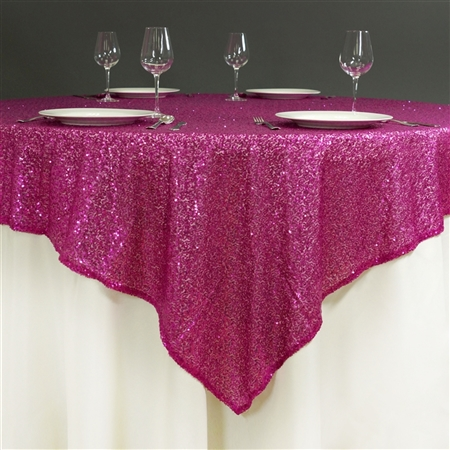 "60"" x 60"" Grand Duchess Sequin Table Overlays - Fushia"