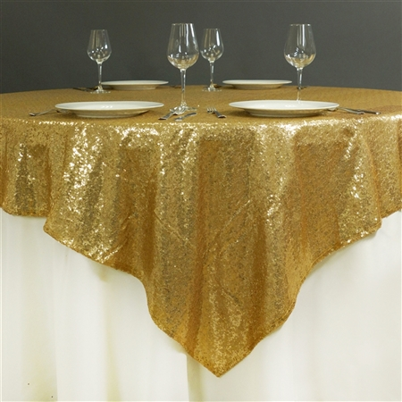 "60"" x 60"" Grand Duchess Sequin Table Overlays - Gold"