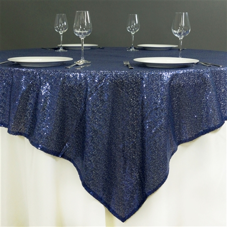 "60"" x 60"" Grand Duchess Sequin Table Overlays - Navy Blue"