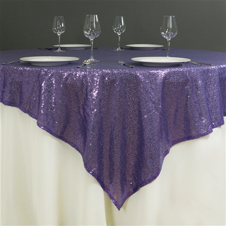 "60"" x 60"" Grand Duchess Sequin Table Overlays - Purple"