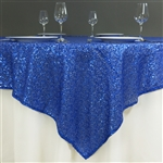 "60"" x 60"" Grand Duchess Sequin Table Overlays - Royal Blue"
