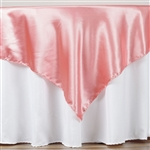 "60"" Rose Quartz Satin Square Overlay for Wedding Catering Party Table Decorations"