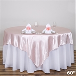 "60"" Blush Satin Square Overlay for Wedding Catering Party Table Decorations"