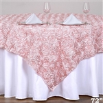 "72""x72"" Grandiose Rosette Table Overlays - Rose Gold/Blush"