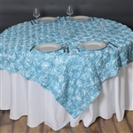 "72""x72"" Grandiose Rosette Table Overlays - Light Blue"