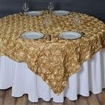 "72""x72"" Grandiose Rosette Table Overlays - Champagne"