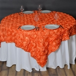 "72""x72"" Grandiose Rosette Table Overlays - Orange"