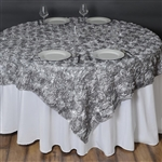"72""x72"" Grandiose Rosette Table Overlays - Silver"
