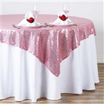 "72""x72"" Grand Duchess Sequin Table Overlays - Pink"