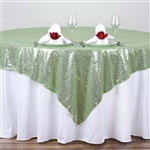 "72""x72"" Grand Duchess Sequin Table Overlays - Tea Green"