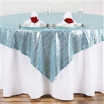 "72""x72"" Grand Duchess Sequin Table Overlays - Serenity Blue"