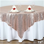 "72""x72"" Grand Duchess Sequin Table Overlays - Blush"