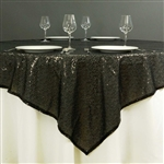 "72""x72"" Grand Duchess Sequin Table Overlays - Black"