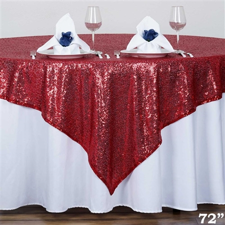 "72""x72"" Grand Duchess Sequin Table Overlays - Burgundy"
