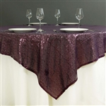 "72""x72"" Grand Duchess Sequin Table Overlays - Eggplant"