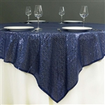 "72""x72"" Grand Duchess Sequin Table Overlays - Navy Blue"