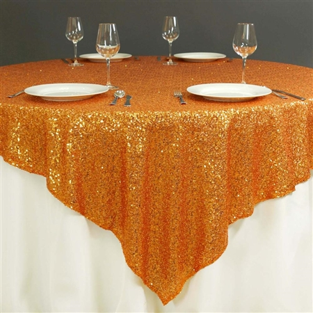 "72""x72"" Grand Duchess Sequin Table Overlays - Orange"