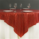"72""x72"" Grand Duchess Sequin Table Overlays - Red"