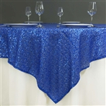 "72""x72"" Grand Duchess Sequin Table Overlays - Royal Blue"