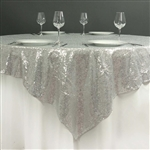 "72""x72"" Grand Duchess Sequin Table Overlays - Silver"