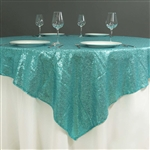 "72""x72"" Grand Duchess Sequin Table Overlays - Turquoise"