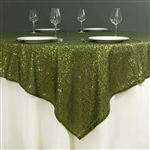 "72""x72"" Grand Duchess Sequin Table Overlays - Willow Green"