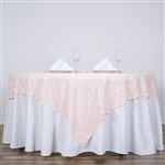 "72""x72"" Elegant Lace Table Overlays (Jolly Good) - Blush"