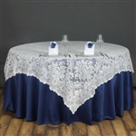 "72""x72"" Elegant Lace Table Overlays (Jolly Good) - Ivory"