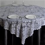 "72""x72"" Elegant Lace Table Overlays (Jolly Good) - White"