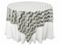 "72""x72"" Chevron Sequin Table Overlays – Silver"