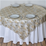 "72""x72"" Extravagant Fashionista Table Overlays - Champagne Lace Netting"