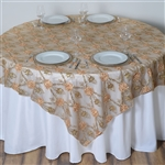 "72""x72"" Extravagant Fashionista Table Overlays - Gold Lace Netting"