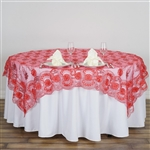 "72"" Satin Floral Design Square Overlay with Elegant Lace Netting - Coral"