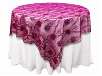 "72""x72"" Fashionista Table Overlays - Fushia Lace Netting"
