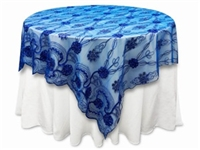 "72""x72"" Fashionista Table Overlays - Royal Blue Lace Netting"