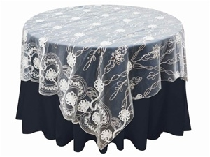 "72""x72"" Fashionista Table Overlays - White Lace Netting"