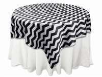 "72""x72"" Jazzed Up Chevron Table Overlays - White / Black"