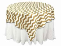 "72""x72"" Jazzed Up Chevron Table Overlays - White / Champagne"