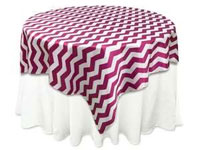 "72""x72"" Jazzed Up Chevron Table Overlays - White / Fushia"