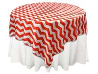 "72""x72"" Jazzed Up Chevron Table Overlays - White / Red"