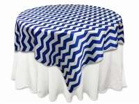 "72""x72"" Jazzed Up Chevron Table Overlays - White / Royal Blue"