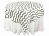 "72""x72"" Jazzed Up Chevron Table Overlays - White / Silver"