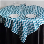 "72""x72"" Jazzed Up Chevron Table Overlays - White / Turquoise"
