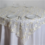 "72""x72"" Fiores & Sequins & Elegant Lace Overlay - Ivory"
